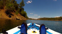 View Of Man Kayaking On Lynx Lake- Prescott Arizona Stock Footage