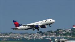 Delta Airlines plane taking off Stock Footage