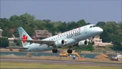 Air Canada Express taking off Stock Footage