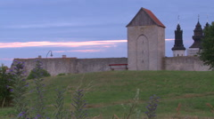 Visby medieval citywall during sunrise on the island Gotland in Sweden Stock Footage