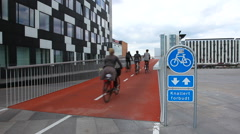 Entering the red bike path Stock Footage