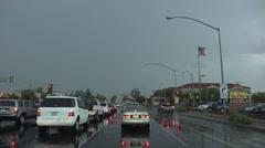 4K UHD dash cam severe lightning strike urban main street intersection Stock Footage