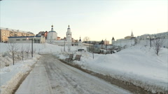 Church near the Kazan Kremlin( winter in the snow on a background of the road) Stock Footage