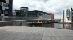 Copenhagen Mall  at the waterfront behind The hotel Copenhagen Island Stock Footage