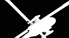 Silhouette of helicopter flying around Stock Footage