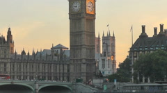 Westminster Palace Evening Sun Light with Red London Bus Stock Footage