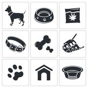 doggy icon collection - stock illustration