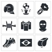 soccer fans ultras icon collection - stock illustration