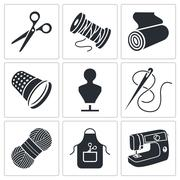 Sewing clothing manufacture icons set Stock Illustration