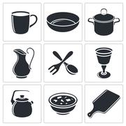 tableware icon collection - stock illustration