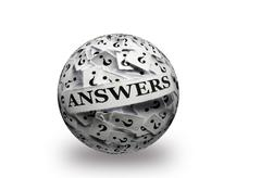 Answers on  question marks 3d ball Stock Photos