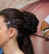 Beauty hairstyle with pigtails - stock photo