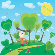 Illustration of little girl with flowers in fantasy world Stock Illustration