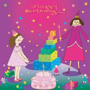 Happy Birthday Gift girl cake and fairy Stock Illustration