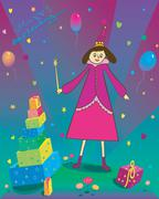 Happy Birthday Illustration of gift balloons and fairy Stock Illustration