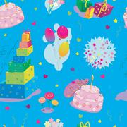 Seamless texture to the birthday on blue background Stock Illustration