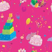 Seamless texture to the birthday on pink background Stock Illustration