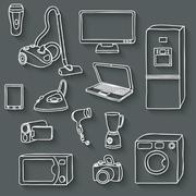 electronics icons set - stock illustration