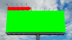 Time lapse big billboard and cloud float in sky (2 shot, green and white screen) Stock Footage