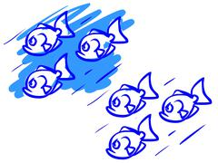 the illustration of a cartoon flock of fishes. - stock illustration