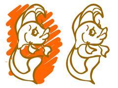 the illustration of a cartoon girl fish. - stock illustration