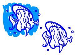 the illustration of a cartoon striped fish. - stock illustration
