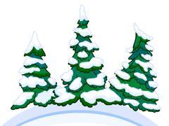 Cartoon image of three conifers on white-blue snowdrifts. Stock Illustration