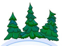 Cartoon image of three conifers on white-blue snowdrifts. Stock Illustration