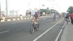Busy streets of Matara with pedestrians and traffic in Matara, Sri Lanka. Stock Footage