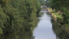 Canal Waterways shot of Shropshire Union Canal Little Onn Bridge No 24 - 2 Stock Footage
