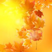 Stock Illustration of Delicate autumn sun with glare on gold sky.