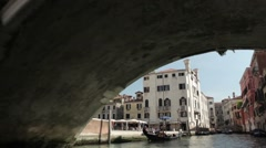Venice, shooting on a boat across the island Stock Footage