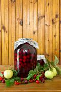 canned cherries - stock photo