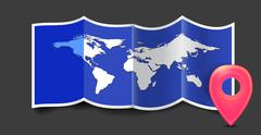 Folded world map with gps marks. Stock Illustration