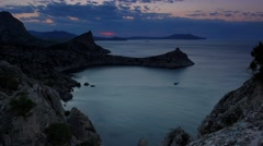 Timelapse sunrise in the mountains. Noviy Svet, Crimea, Russia Stock Footage