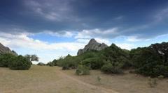 Cloudy sky over the mountains Karaul Oba. Noviy Svet, Crimea, Russia Stock Footage