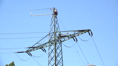 Workers on power line in Germany 4k Stock Footage
