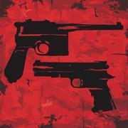 Stock Illustration of vintage grunge guns graphic design. vector