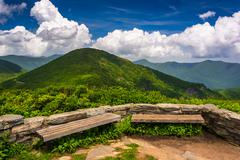 benches and view of the appalachians from craggy pinnacle, near the blue ridg - stock photo