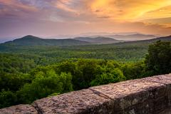 the appalachian mountains at sunset, seen from the blue ridge parkway in nort - stock photo