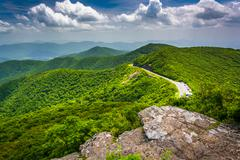 view of the blue ridge parkway and the appalachian mountains from craggy pinn - stock photo