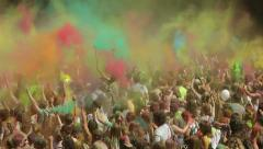 "MOSCOW, RUSSIA - JULY 13: Annual festival of Holi paints ""Colorfest"" Stock Footage"