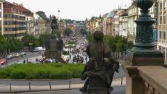 Prague wenceslas square time lapse pan tilt 11401 Stock Footage