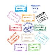 Colorful passport stamps background for your design Stock Photos