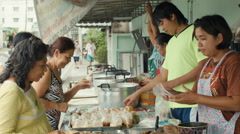 Thai Street Food Vendor Selling Various Soups Stock Footage