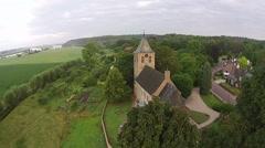 Aerialshot of old historic church of Oosterbeek Stock Footage