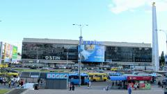 Ukraine megastore with poster: football championship, Brazil, in Kiev, Ukraine. Stock Footage