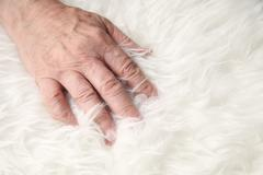 Hand of a man on faux sheepskin Stock Photos