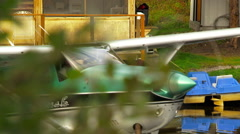 Alaskan bush plane taxing out for take off Stock Footage
