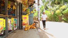 MIRISSA, SRI LANKA - MARCH 2014: Local shop on the street in Mirissa. Stock Footage